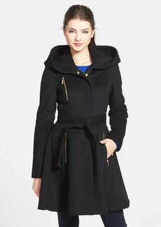 Laundry by Shelli Segal Boiled Wool Blend Fit & Flare Coat
