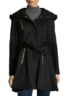 Laundry by Shelli Segal Boiled-Wool Zip-Front Belted Coat