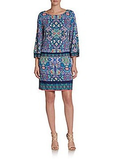 Laundry by Shelli Segal Border-Print Jersey Dress