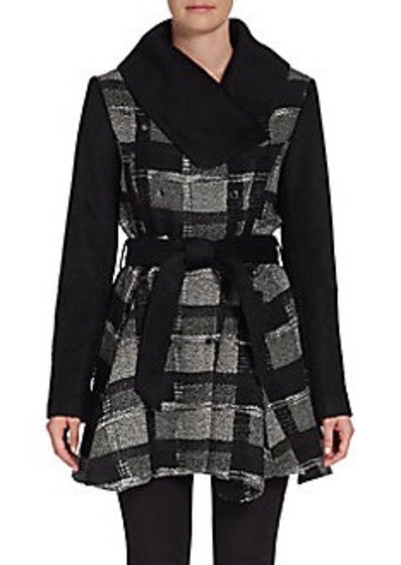 Laundry by Shelli Segal Bouclé Plaid Flared Coat