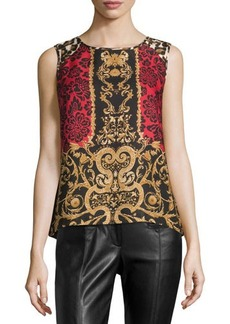 Laundry by Shelli Segal Brocade-Print High-Low Knit Tank
