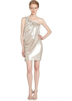 Laundry by Shelli Segal buff silver woven and beaded one shoulder dress