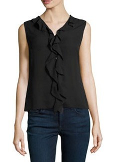 Laundry by Shelli Segal Button-Front Frill Top, Black