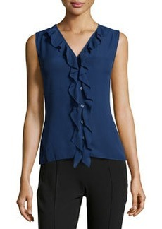 Laundry by Shelli Segal Button-Front Frill Top, Midnight