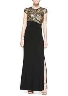 Laundry by Shelli Segal Cap-Sleeve Embellished-Bodice Gown