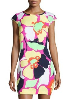 Laundry by Shelli Segal Cap-Sleeve Floral-Print Shift Dress, Shocking Pink