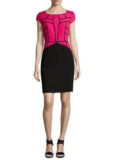 Laundry by Shelli Segal Cap-Sleeve Geometric-Applique Dress, Power Pink