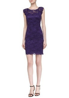 Laundry by Shelli Segal Cap-Sleeve Lace Dress, Grape