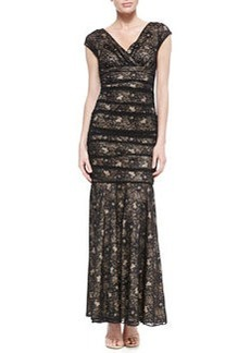 Laundry by Shelli Segal Cap-Sleeve Lace Mermaid Gown, Black