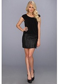 Laundry by Shelli Segal Cap Sleeve MJ Sequin 2-fer Matte Jersey Dress