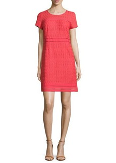 Laundry by Shelli Segal Cap-Sleeve Round-Neck Lace Dress