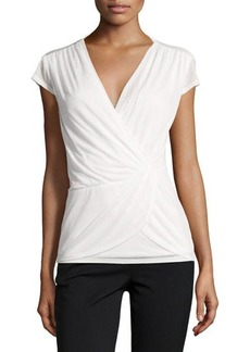 Laundry by Shelli Segal Cap-Sleeve Twisted-Front Top