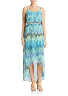 LAUNDRY BY SHELLI SEGAL Chain Belt Print Hi Lo Dress