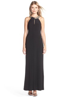 Laundry by Shelli Segal Chain Detail Jersey Gown