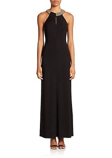 Laundry by Shelli Segal Chain-Neck Jersey Gown