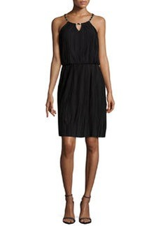 Laundry by Shelli Segal Chain-Neck Pleated Jersey Dress, Black
