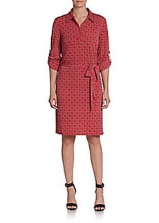 Laundry by Shelli Segal Chain-Print Faux Wrap Dress
