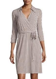 Laundry by Shelli Segal Chain-Print Knit Wrap Dress, Black/Multi