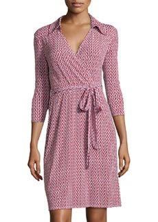 Laundry by Shelli Segal Chain-Print Knit Wrap Dress, Fiery Red/Multi