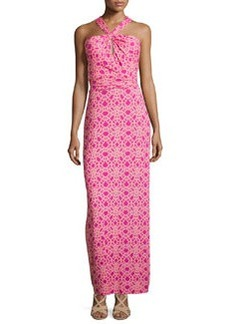 Laundry by Shelli Segal Chain-Print Maxi Dress, Rose/Violet/Multi