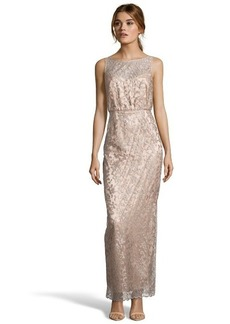 Laundry by Shelli Segal champagne floral lace illusion neckline gown