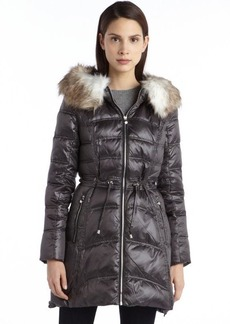 Laundry by Shelli Segal charcoal quilted down filled zip detail faux fur hooded jacket