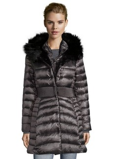 Laundry by Shelli Segal charcoal quilted faux fur trim 3/4 length down jacket