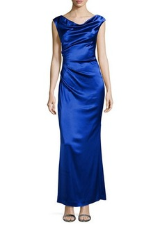 Laundry by Shelli Segal Charmeuse Gown with Draped Neck