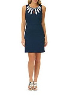 LAUNDRY BY SHELLI SEGAL Check Jacquard Necklace Sheath Dress