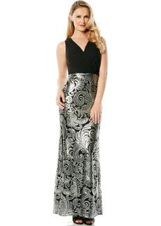 Laundry by Shelli Segal Chiffon & Sequin Faux Wrap Gown