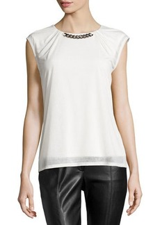 Laundry by Shelli Segal Chiffon Knit Top W/Collar Chain