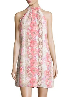 Laundry by Shelli Segal Chiffon Snake-Print Shift Dress