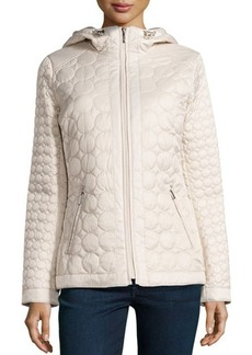 Laundry by Shelli Segal Circle-Pattern Quilted Hooded Coat
