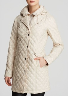Laundry by Shelli Segal Coat - Hooded Diamond Quilted Zip Bib