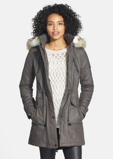 Laundry by Shelli Segal Coated Parka with Faux Fur Trim