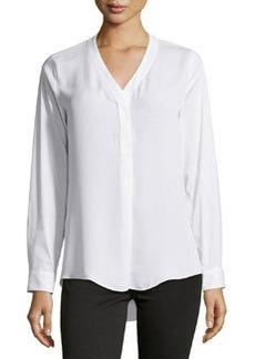 Laundry by Shelli Segal Contrast-Front V-Neck Blouse, Optic White
