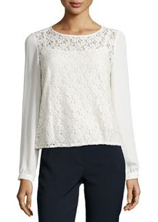 Laundry by Shelli Segal Contrast-Sleeve Lace Top, Snow