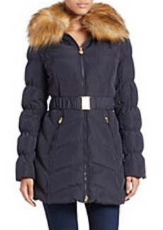 LAUNDRY BY SHELLI SEGAL Convertible Faux Fur-Trimmed Belted Coat