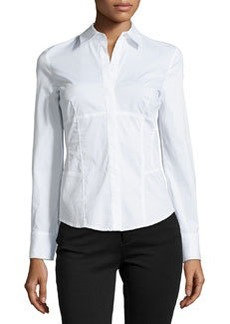 Laundry by Shelli Segal Cotton-Blend Seamed Shirt, Optic White