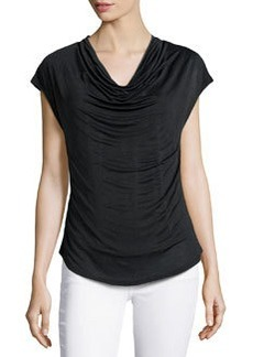 Laundry by Shelli Segal Cowl-Neck Curved-Hem Top, Black