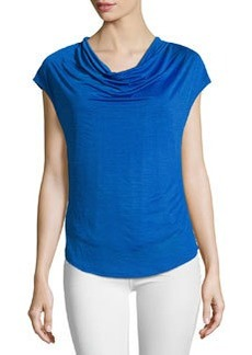 Laundry by Shelli Segal Cowl-Neck Curved-Hem Top, Bright Blue Beret
