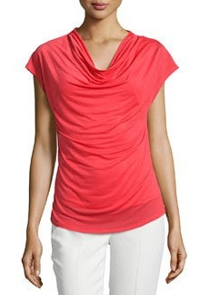 Laundry by Shelli Segal Cowl-Neck Curved-Hem Top, Hibiscus