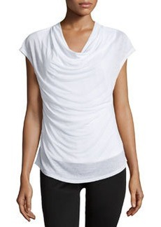 Laundry by Shelli Segal Cowl-Neck Curved-Hem Top, Optic White