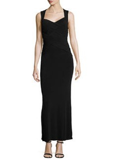 Laundry by Shelli Segal Crisscross Pintucked Gown, Black