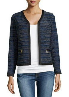 Laundry by Shelli Segal Cropped Open-Front Jacket, Blue Beret/Multi