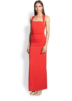 Laundry by Shelli Segal Cross-Back Jersey Gown