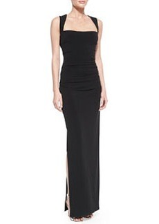 Laundry by Shelli Segal Cross-Back Ruched Middle Gown