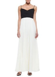 Laundry by Shelli Segal Cross-Bodice Pleated-Skirt Twofer Gown