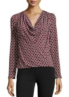 Laundry by Shelli Segal Cross-Front Cowl-Neck Top, Deep Garnet