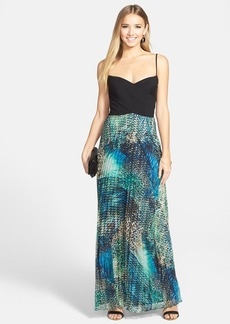 Laundry by Shelli Segal Cross Panel Print Skirt Gown